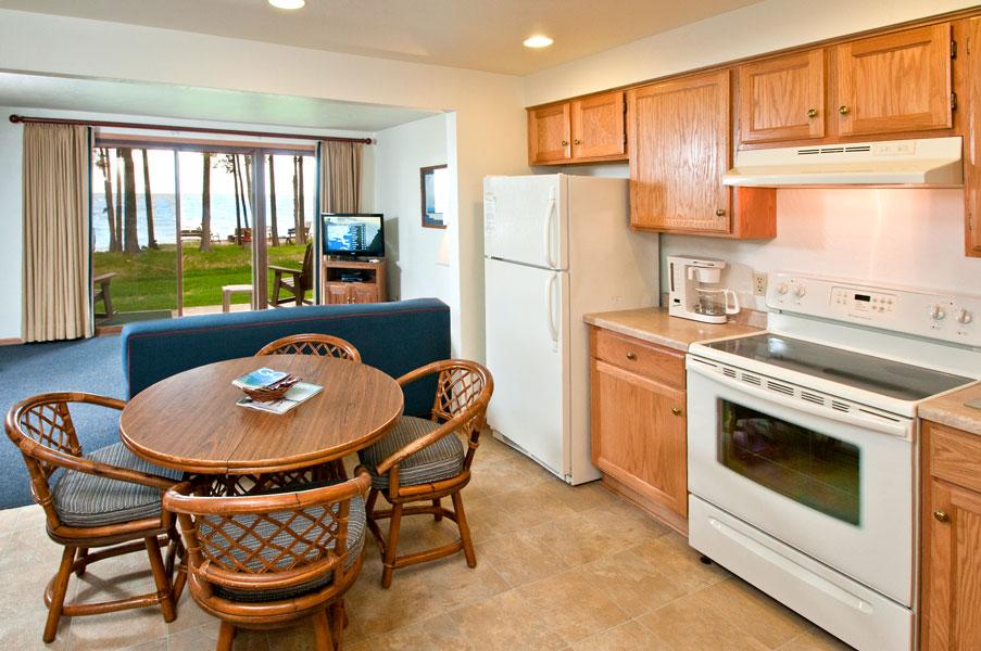 Kitchen inside room at Shallows Resort