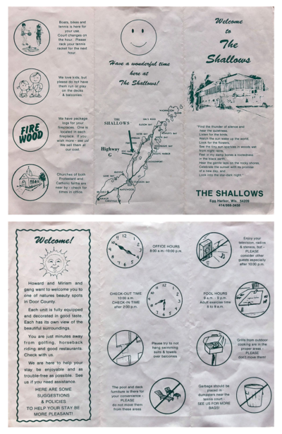 Front and back images of an old Shallows Resort brochure