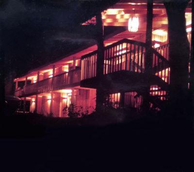 Vintage nighttime photo of Shallows motel